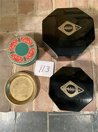 Dolbi Cashier Black Lacquered Nesting Boxes with Coasters and Vintage Ash Tray