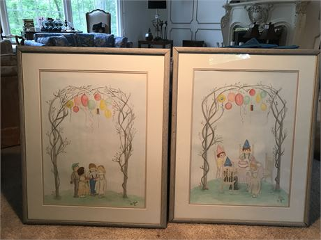 "Pair of Doris Jira Original Watercolor ""Happy Birthday"" Paintings"