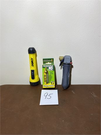 CO2 Inflator with Cartridges and Flashlight
