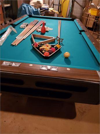 Vintage 8' Slate Pool Table / Bar Table w/ accessories