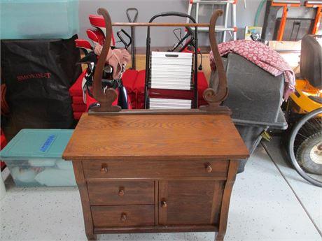 Antique Restored Fine Oak Washstand w/ Yoke Towel Bar