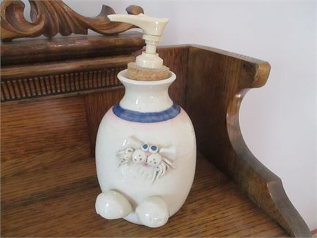 Hand Crafted Pottery Franceinz Signed Yankee Peddler Hand Soap Dispenser