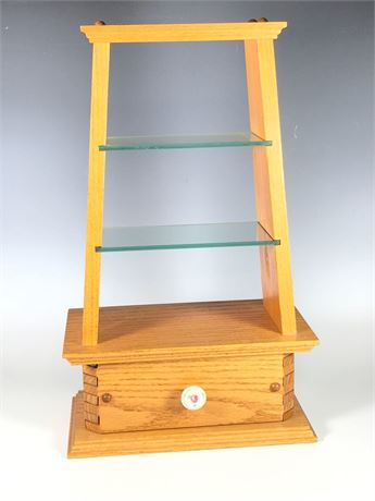 Oak Three Tier Display Stand One Drawer Glass Shelves