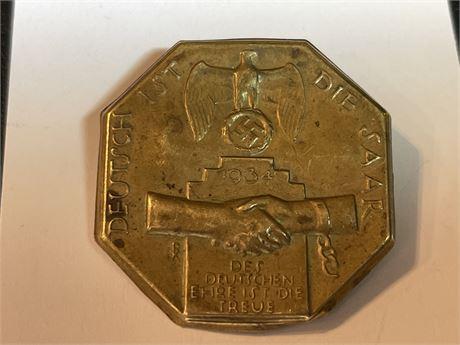 1934 German NSDAP Badge - Deutsch 1st Die Saar