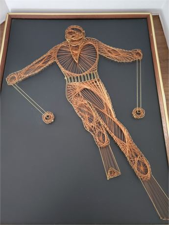 Vintage Copper Wire Art Skier Wall Art