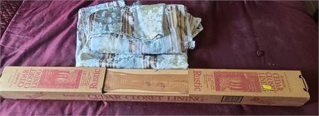 2 Curtain Panels (88x55) & Cedar Closet Lining