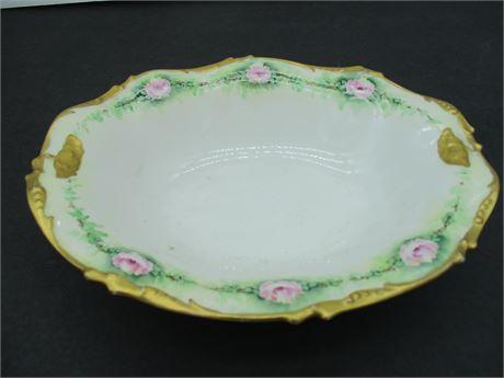"""Vintage  1908 J.P L France Fine Large Fancy China 10"""" Oval  Serving Bowl"""