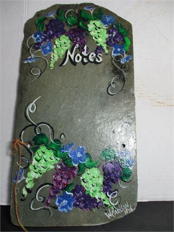 Vintage Original Art Hand Painted Roof Slate Memo Chalk Board