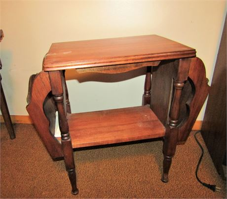Solid Wood Magazine Rack End Table