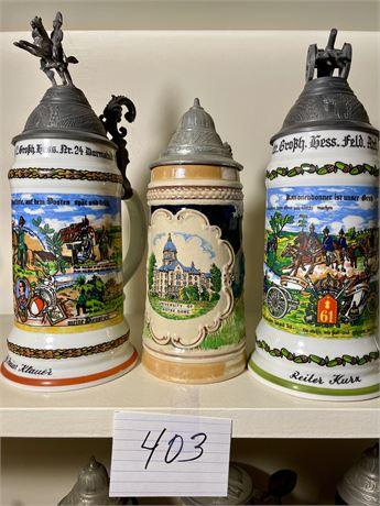 Three West German Lidded Beer Steins #1 - Two Regimental w/ Lithopane Bottoms