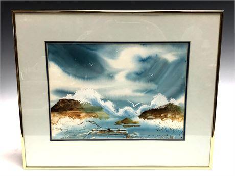 Artist Signed Water Color Ocean Scene