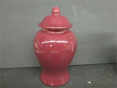 """Royal Haeger 7"""" Burgundy Ceramic Lidded Ginger Jar Urn"""