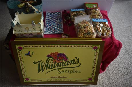 Giant Whitman's Box/Blue Mosaic plate/Wooden basket and more