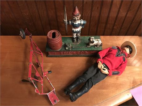 Toy Clean Out Lot - Lone Ranger Doll & Cast Iron Bank