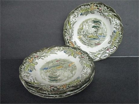 "4 Pcs 6"" Village of Cedars Ridgeway Staffordshire Eng Plates"