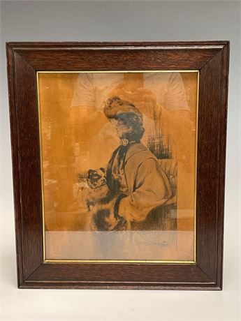 Late 1800's Charcoal Etching of Woman with Her Dog