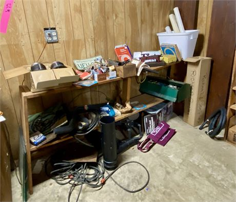 Car Parts Shelves with License Plates, Tools and Tool Box & Possibly Engine