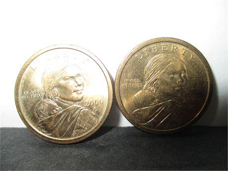 2 Vintage Genuine Sacagaewa Gold One Dollar US Coins Lot