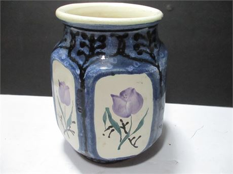 """8"""" Fancy Oriental Hand Crafted Art Pottery Vase"""