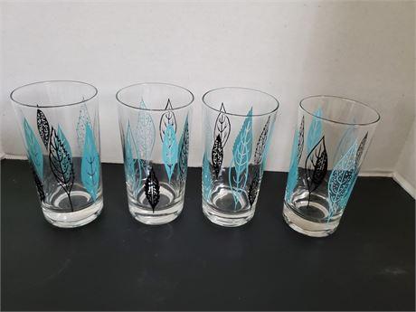 Set of 4 MCM Glass Tumblers