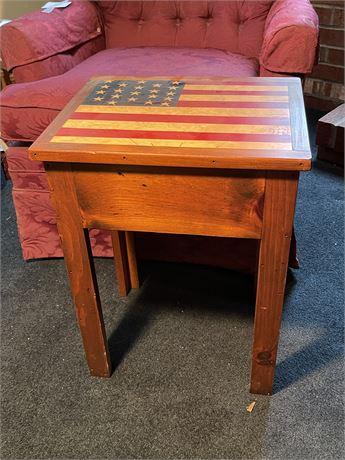 Warren Kimble Signed Knotty Pine Flag Table