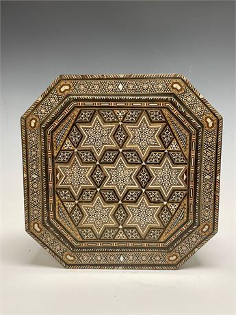 Marquetry Middle Eastern Mother of Pearl Inlaid Octagonal Wood Box