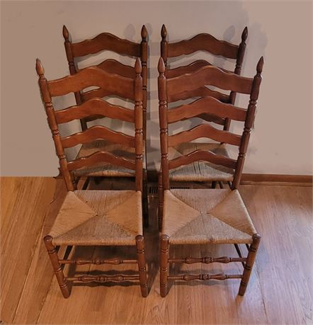 4 Ladder Back Caned Chairs