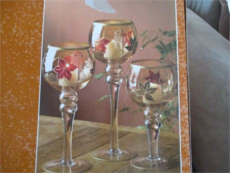 Kirkland 3 Pieces Hand pained Stemmed Hurricane Candle Glassware