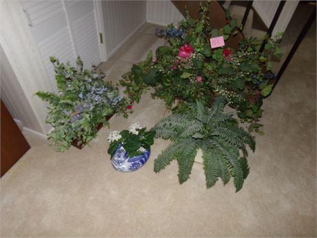 Assorted artificial plant arrangements