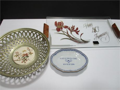 3 Piece Miscellaneous Plates and Trays lot