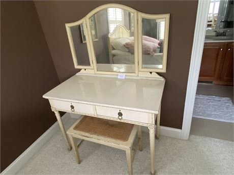 Antique Vanity with Mirror and Bench with Caning - (Old Ivory)