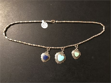 Turquoise and Lapis set in Sterling Silver Necklace