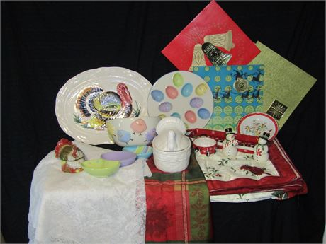 Multiple Holiday Serving pieces and Christmas Linens