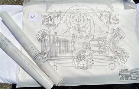 3 Porsche Blueprint Reproductions