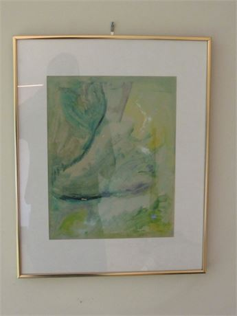 Signed Abstract Print, Framed