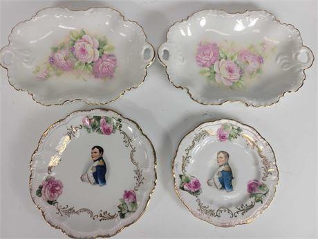 Antique Porcelain Napoleon Plates and Floral Trays