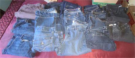 Ladies Jeans Lot (CALVIN KLEIN, REPUBLIC, HILFIGER) 14 PAIRS SIZE 10-14