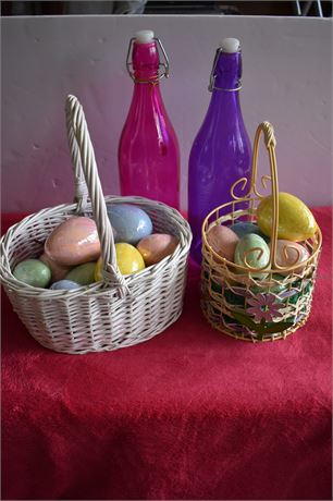 Pink and Purple glass bottle and Easter baskets with ceramic eggs