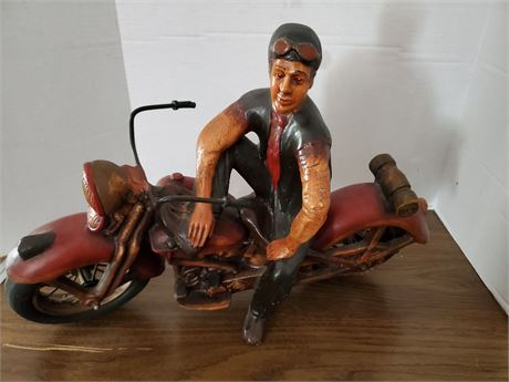 Guy on Motorcycle Resin Statue