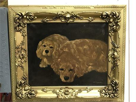 Original Antique Signed Oil on Canvas - Two Retrievers