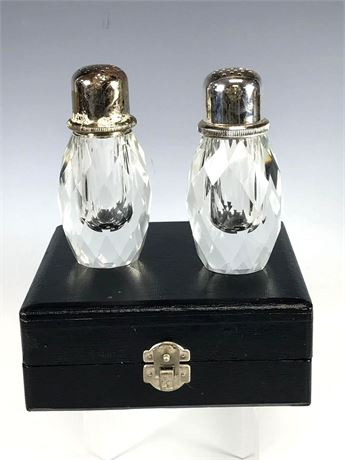 Pressed Glass Salt and Pepper Shakers in Display Box