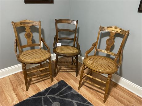3 Antique Wooden Chairs with Caned Seats