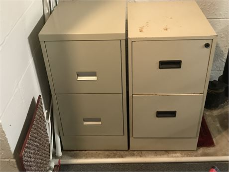 Two 2 Drawer Metal File Cabinets