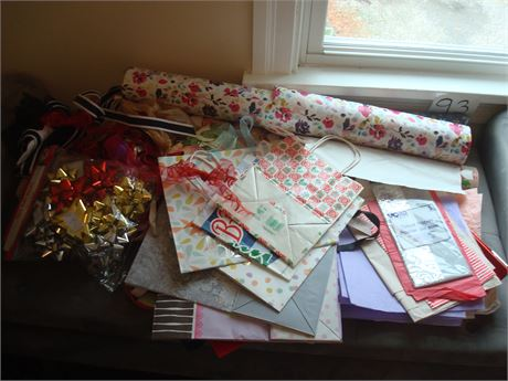 Wrapping Paper, Tissue, Bow Lot