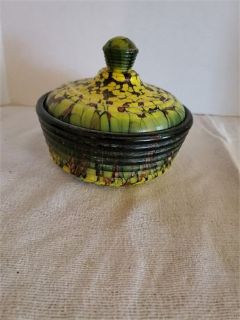 Fabulous Art  Glass Covered Dish Italy