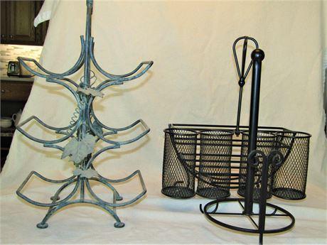Wrought Iron Wine Rack & Metal Picnic Caddy