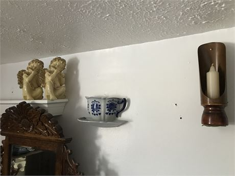 Cherubs, Wall Pocket and Wall Sconce Candle Holder