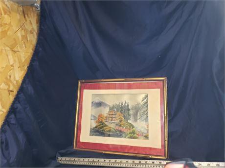 Hand Painted Silk Oriental Art