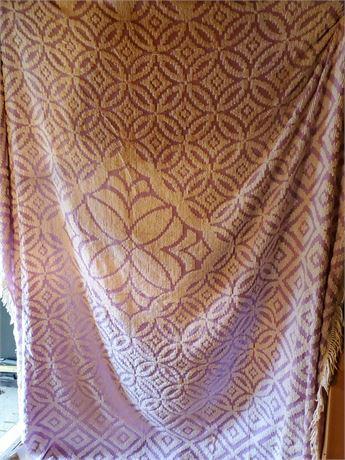 Vintage Chenille Purple King Size Bedspread