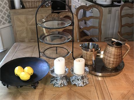Beverage Service, Tiered Server, Metal Candle Holders & Centerpiece Tray
